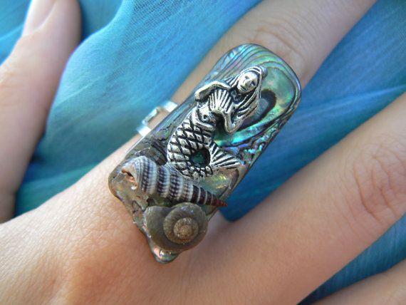 mermaid abalone ring mermaid jewelry siren seashells abalone nautical boho gypsy cruise wear beach resort wear  high fashion gypsy hipster