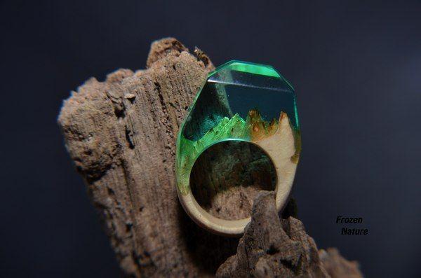 Кольцо «бриллиант» кольцо из дерева, кольцо из дерева и смолы, бриллиант, Своими руками, длиннопост
