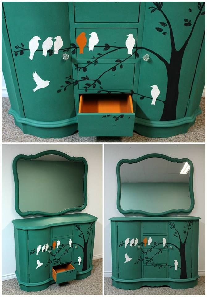 """Fabulous dresser painted with FAT Paint's """"Emerald City"""" by Bobby Jo from """"Designed by Bobby Jo"""" https://www.facebook.com/pages/Designs-by-Bobby-Jo/191371770941569?fref=ts"""