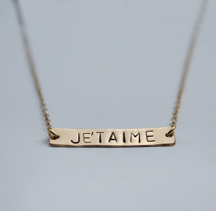 I love you necklace - Horizontal gold stamped Je'taime bar necklace - French language necklace - Modern trendy fashion jewelry. $49.00, via Etsy.