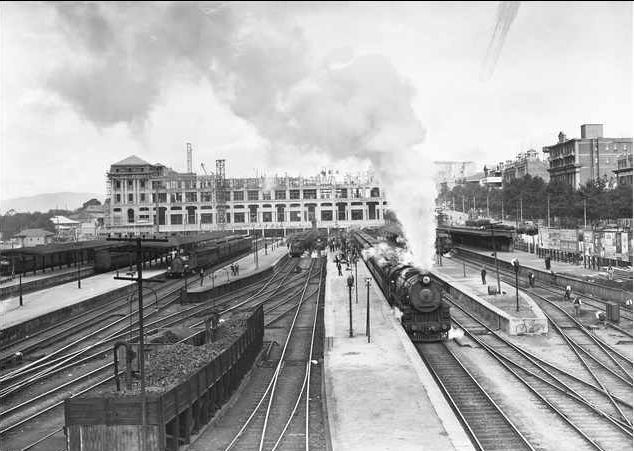 This was taken in 1927 one year before the current Adelaide Railway Station was complete. It wasn't until the mid eighties when what is now known as the Intercontinental Hotel and the Adelaide Convention Centre was built over the top of the platforms. Before then, all the platforms were out in the open.