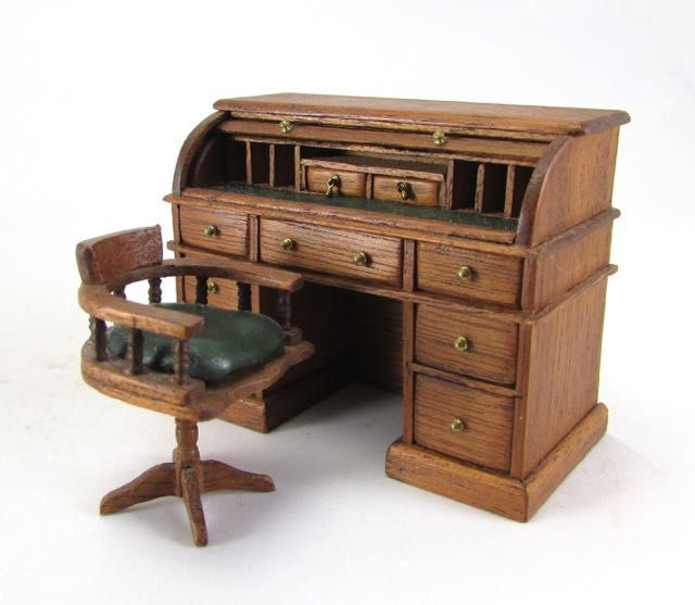 Charming 24th Scale Roll Top Desk And Chair | Dolls House Miniatures