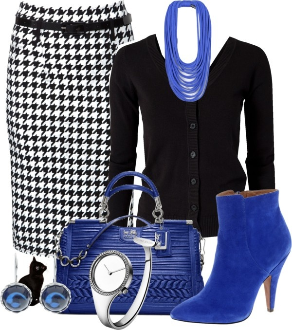 """""""Houndstooth Skirt"""" by katc on Polyvore. Never thought of this color combo before but it looks great."""