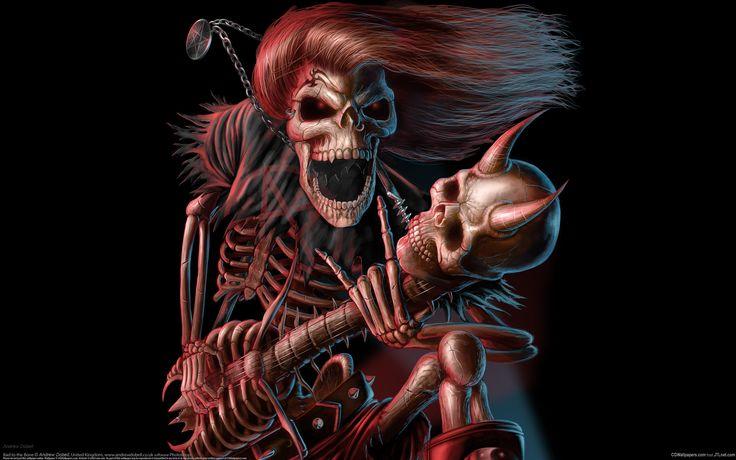 Музыка George Thorogood  Череп Гитара Тьма скелет Музыка тяжелый металл Обои