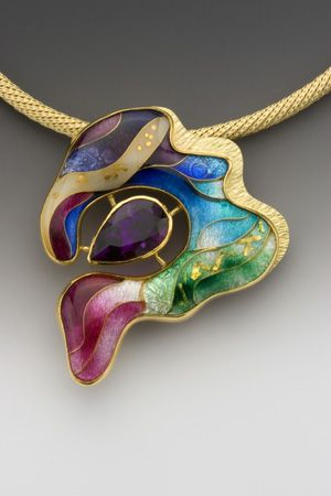 Waves Enamel, 18k, 22k, and 24k gold, fine silver, and amethyst One-of-a-kind