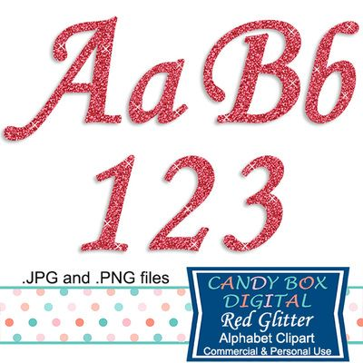 Red Glitter Cursive Alphabet Clipart by Candy Box Digital. A sparkly alphabet, great for Valentine's Day or Christmas. Use it for scrapbooks, journals, blogs, websites, announcements or invitations - Candy Box Digital