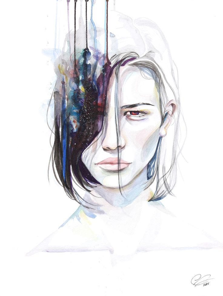Alienated - dripping watercolor portrait by defectivebarbie
