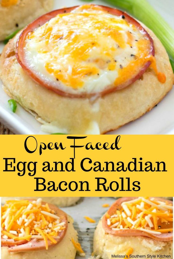 Open Faced Egg And Canadian Bacon Rolls