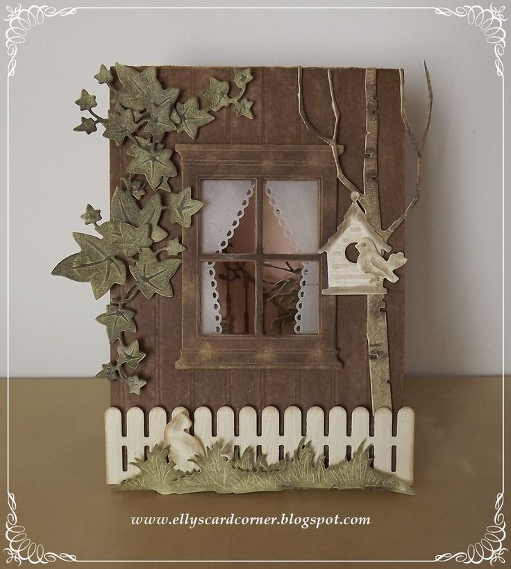Card window by Elly de Bruin-Dekker - Joy! Crafts Autumn Ivy; Marianne Design Creatables Fence, Bird & House , Tiny's Grass, Vine, Bird & House (bird); Memory Box Tall Birch; My Favorite Things Die-Namics Woodgrain Fence; Poppystamps Lacy Curtains, Small Madison Window]