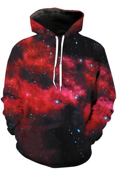 9c2bfd2fcde4 Drawstring Hooded Galaxy Color Block 3D Printed Long Sleeve Hoodie  Sweatshirt