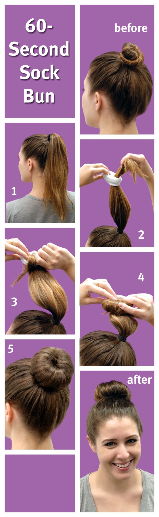 60-Second Sock Bun  awesome trick!