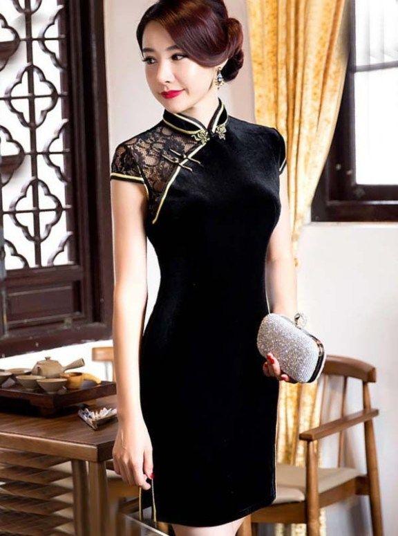 Black Velvet Lace Gold Trim Mini Cheongsam Dress Asian Style Dress Chinese Style Dress Evening Mini Dresses