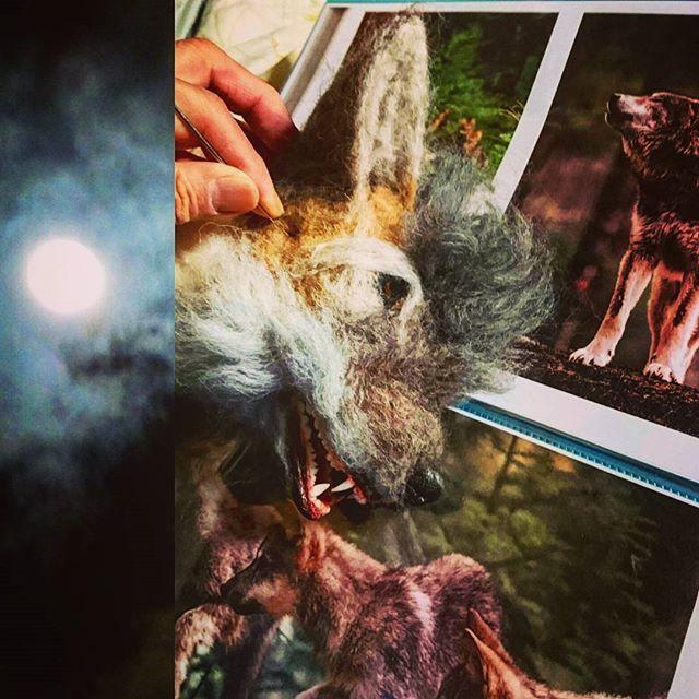 【zokeiforce】さんのInstagramをピンしています。 《満月の夜に、狼の造形 いよいよ顔の植毛です  #羊毛フェルト狼#メイキング #WOLF#handmade#original #手作り狼#Japan #大自然#森#冬景色#狩人 #サーキットの狼#植毛#woolfelt #満月#月夜#遠吠え》