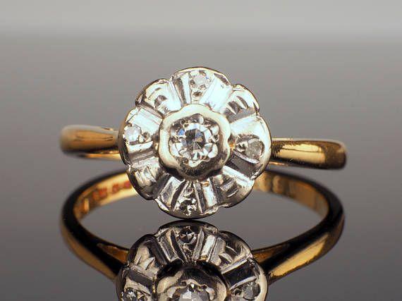 18k Gold Diamond Ring Vintage Solitaire Diamond Ring