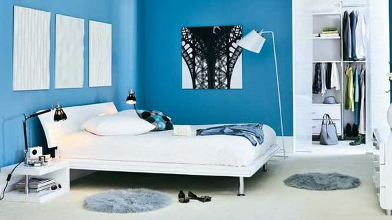 Interior: Blue And White Bedroom Design With White Bed And White Chusion Also Side Table With Night Lamp And White Wood Wardrobe: Best White and Blue Interior Decorating Design ideas
