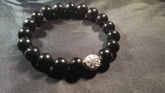 Jet Beads with Rhinestone Bracelet