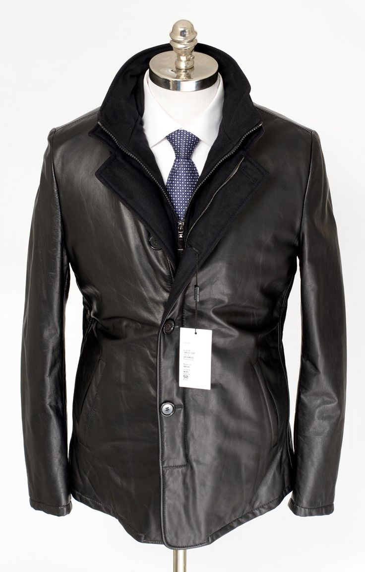 DI BELLO Italy Black Leather Cashmere Zip Car Coat 4Btn Jacket  |  Get in there! http://www.frieschskys.com/leather/leather-coats-jackets  |  #frieschskys #mensfashion #fashion #mensstyle #style #moda #menswear #dapper #stylish #MadeInItaly #Italy #couture #highfashion #designer #shopping