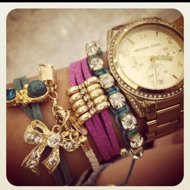 Like!!!Colors Combos, Stacked Bracelets, Wrist Candies, Michael Kors Watches, Arm Candies, Michaelkors, Arm Parties, Men Watches, Bling Bling