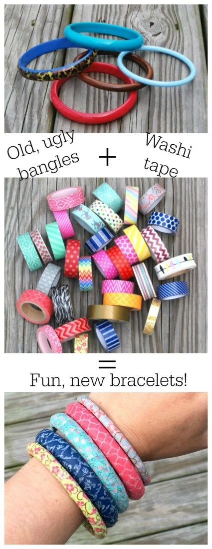 It's hard to believe these bangles are made with thrift-store bracelets and washi tape. You can make them in just minutes!