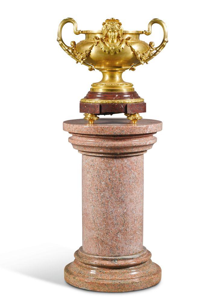 A gilt-bronze twin-handledjardinière