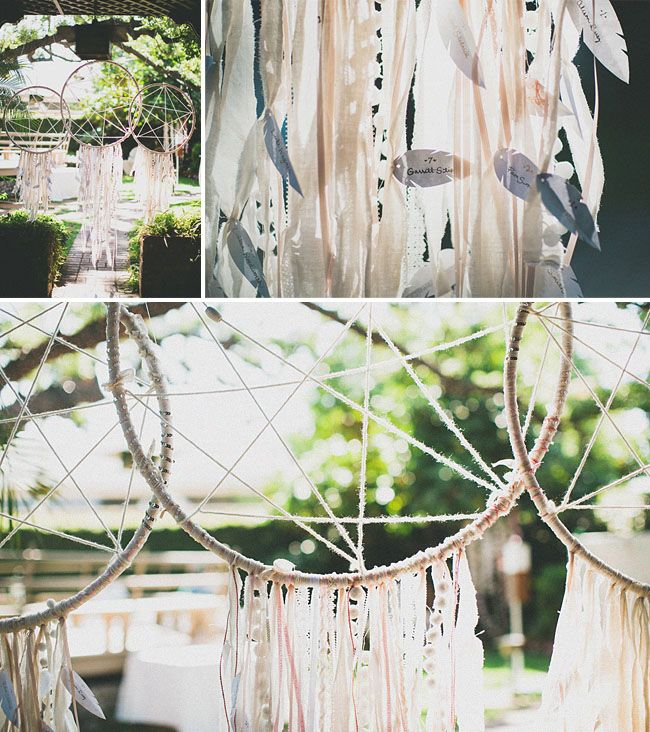 Just wow: Dream catcher seating chart finder! - Free people inspired wedding: Stacy + Adam, Photography by Studio Castillero