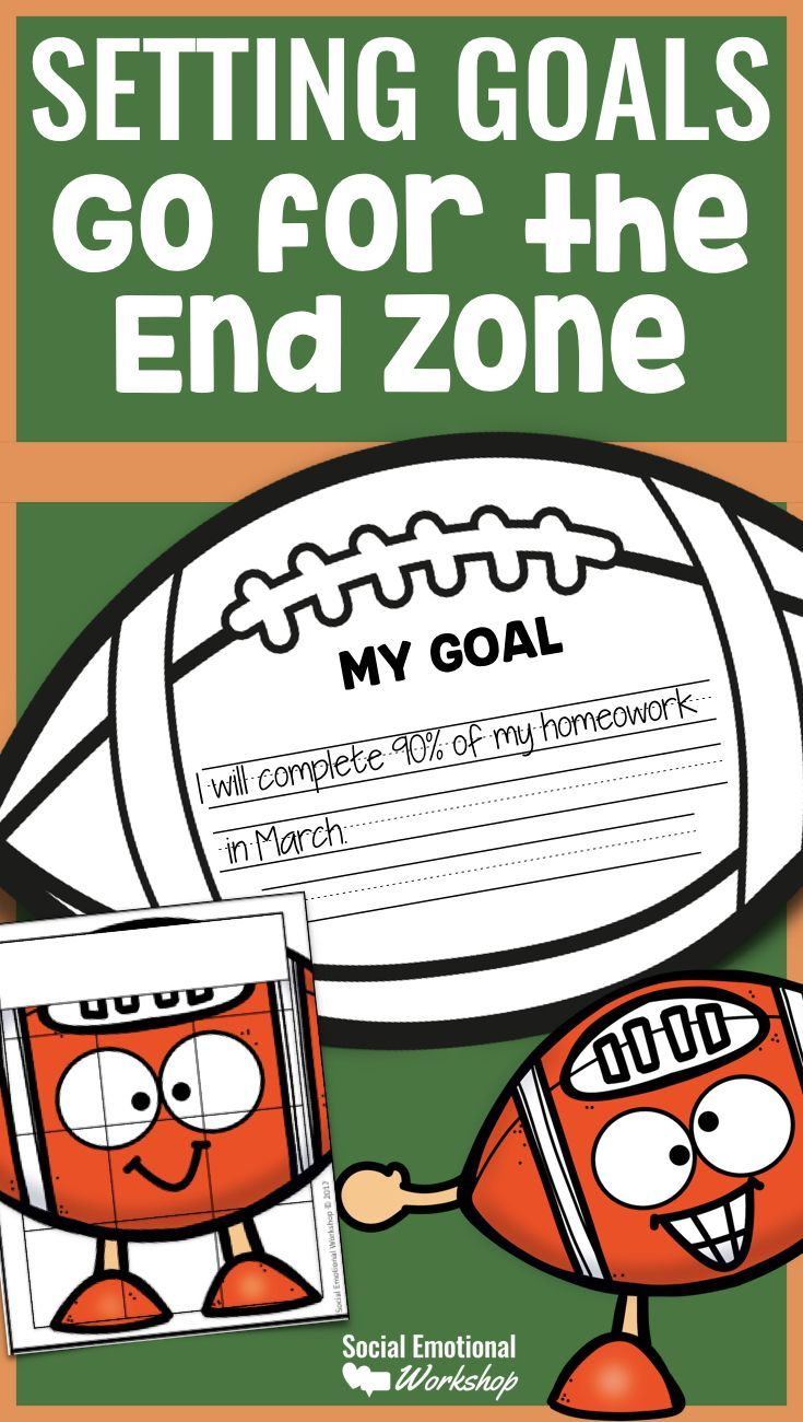 Goal Setting is an important social-emotional skill that even young students can learn with support. Setting goals that are SMART goals (Specific, Measurable, Attainable, Relevant, and Time-Based) can be challenging. It is helpful for students to learn how to set and monitor their own goals. This football themed resource visually shows their progress on their goals as their football moves down the field to the end zone. It is a simple way to track student progress, keep them motivated.