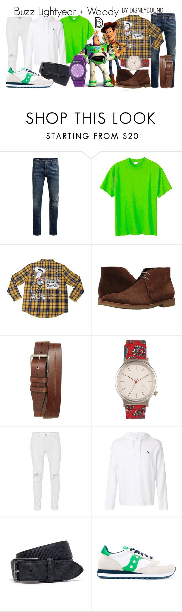 """""""Buzz Lightyear + Woody"""" by leslieakay ❤ liked on Polyvore featuring Jack & Jones, Hanes, Woody's, To Boot New York, 1901, Komono, Topman, Polo Ralph Lauren, Lacoste and Saucony"""