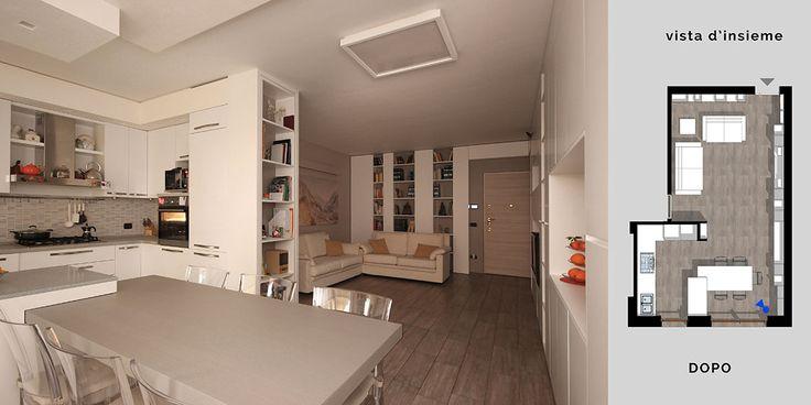 Nuovo Interior e nuovo arredamento per un living a Milano Un atteggiamento sartoriale veste di pareti contenitive un'intera zona giorno e cucina-pranzo.