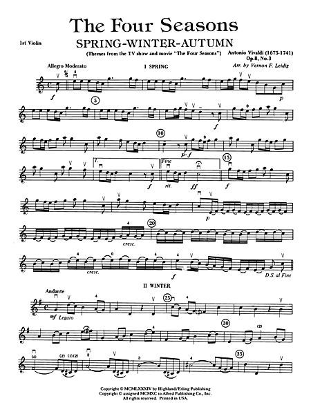 The Four Seasons (Spring, Winter, Autumn): 1st Violin