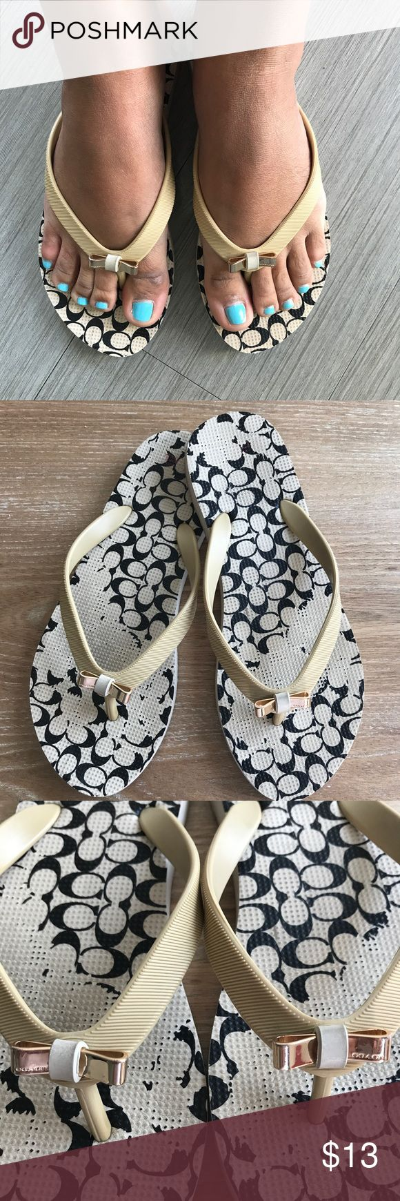 Coach Flip Flops Beige 💗Condition: Used. Please note pictures for flaws. They have a lot of life. Selling due to moving  💗Smoke free home/Pet hair free 💗No trades, No returns. No modeling  💗 I don't drop prices, make me offers!  💗Shipping next day. Beautiful package! 💗ALL ITEMS ARE OWNED BY ME. NOT FROM THRIFT STORES 💗All transactions video recorded to ensure quality.  💗Ask all questions before buying Coach Shoes Sandals