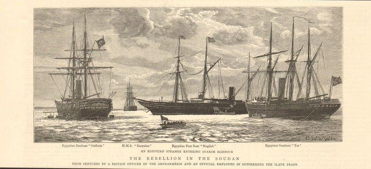 1884 Antique Print- Sudan,egyptian Steamer Entering Suakim Harbour