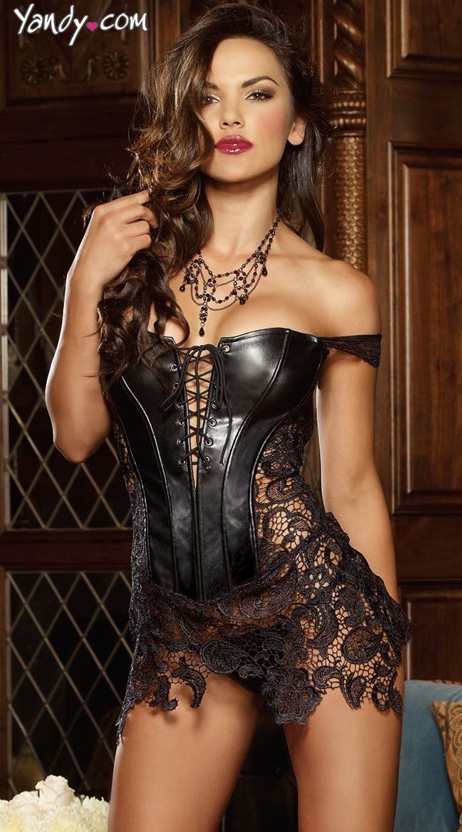 Faux Leather and Venice Lace Corset ,,What a Gorgeous and unusual combination of materials That are combined in a Very Sexy Form with the Leather Being the Center Piece and The Gorgeous Lace .Applied to Different Areas and the Upper Thighs with the Scalloped Lace Edging And Viola one Beautiful Combination ,, I Am Ordering Two Right Now !!! Gift Boxed Please