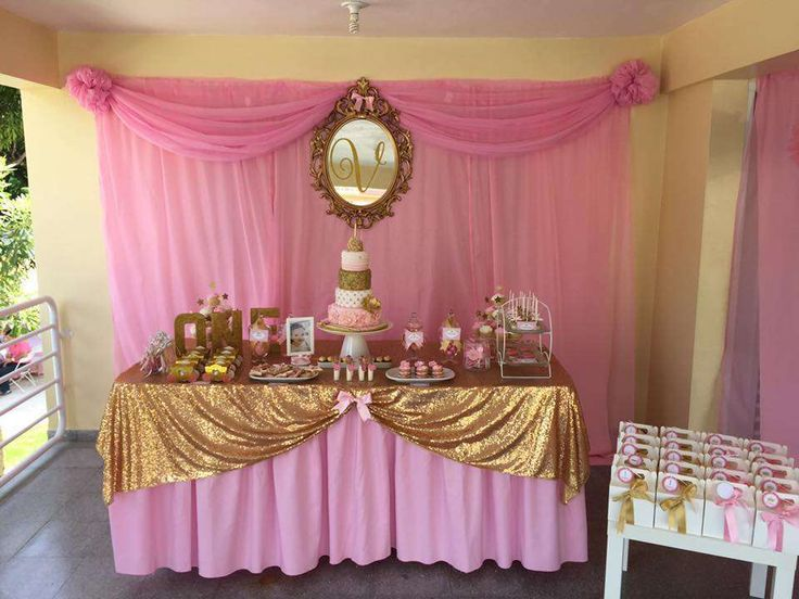 Princess pink gold birthday party ideas birthdays for 1 birthday decoration images