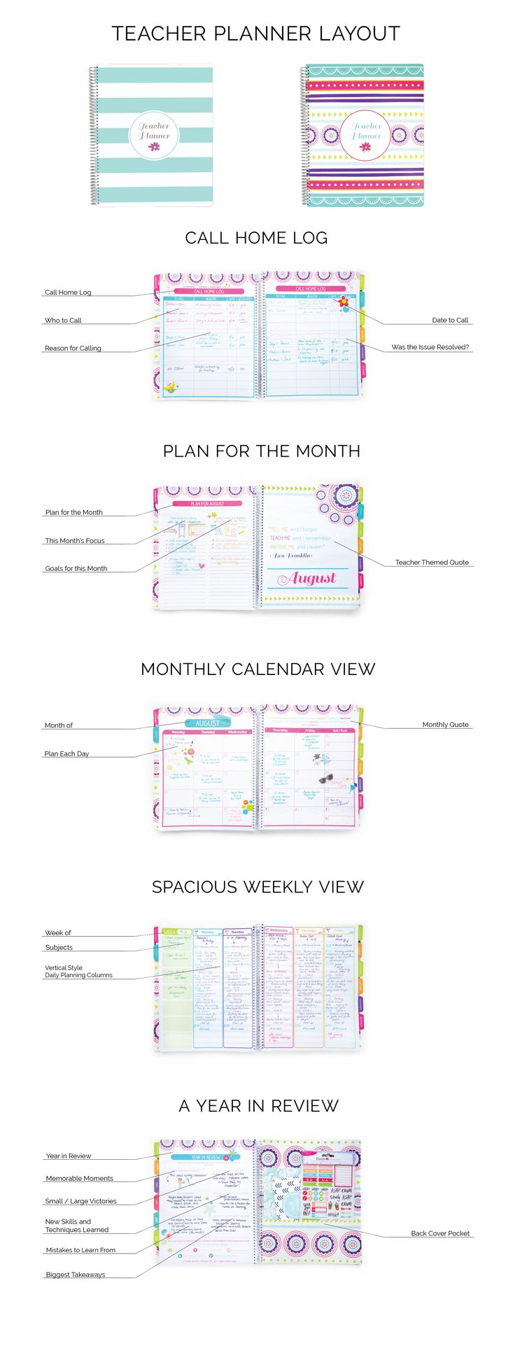 Inside Features of bloom daily planner's Teacher Planners! A perfect teacher gift for the holidays.