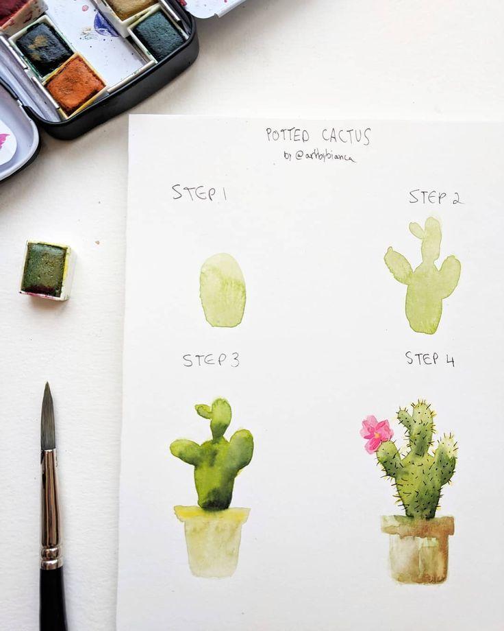 Cactus Diyandcraftsstepbystep Diyandcrafts Watercolor