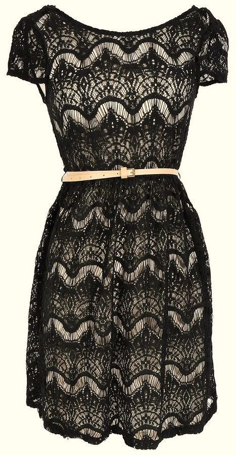 Black Lace Belted Dress