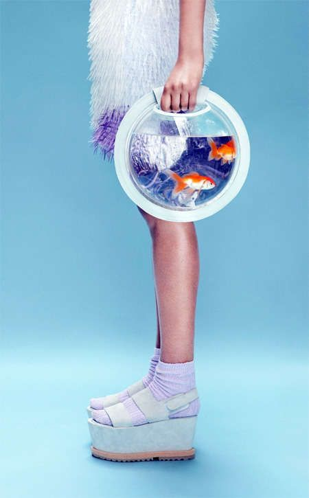 Avant-garde bag design: Fish aquarium backpack and handbag design by Cassandra Verity.