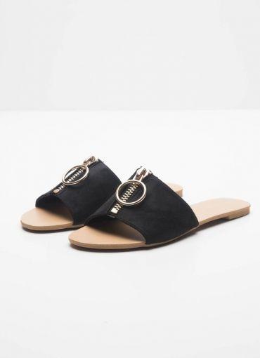 Mimi Slide - Black Suede [Follow us: @Peppermayo for more cuteness and daily fashion inspo.]