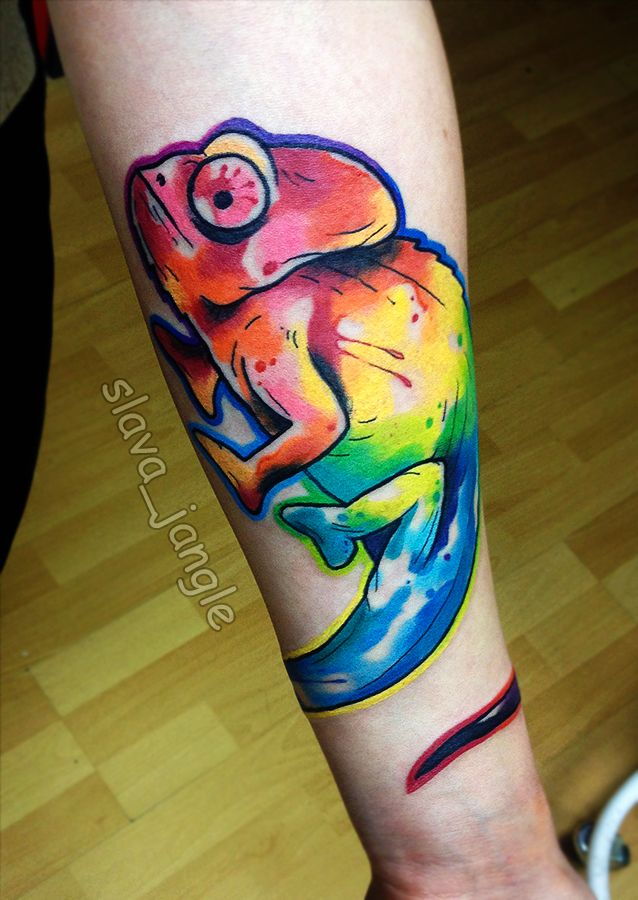tattoo artist Slava Jangle bright watercolor tattoo chameleon акварельная татуировка
