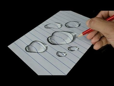 How to Draw Water Drop – Trick Art on line paper – YouTube