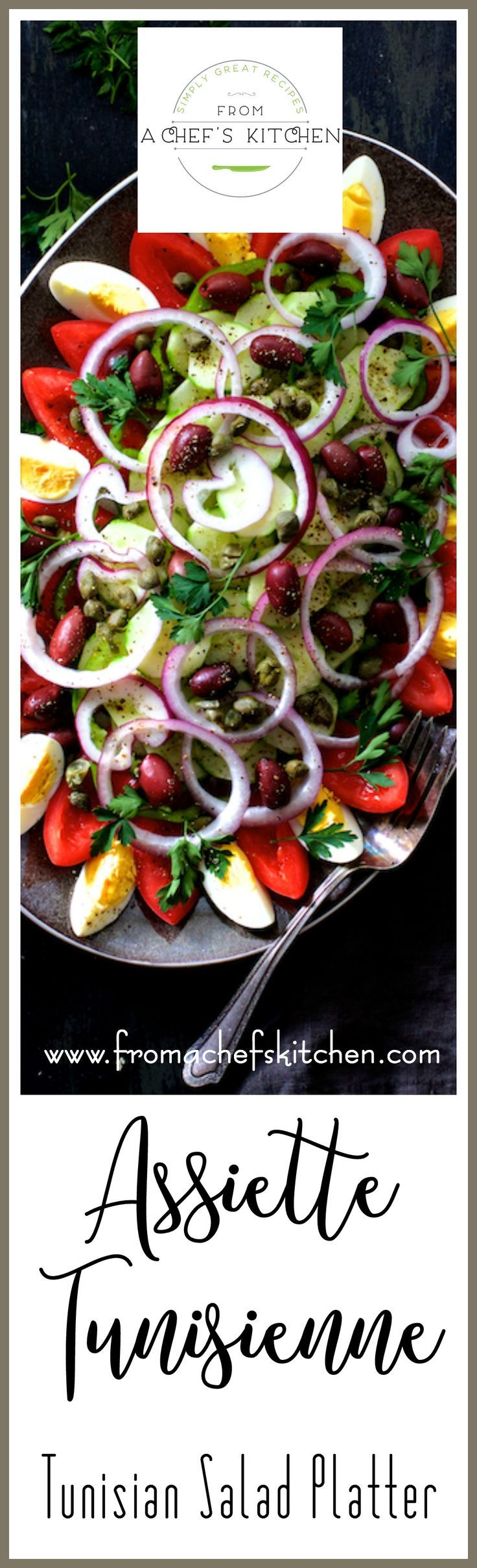 Full of fresh, crunchy vegetables, olives, capers and drizzled with a simple red wine vinaigrette, Tunisian Salad Platter (or Assiette Tunisienne) makes an impressive presentation for a buffet!  This is THE salad to make all summer long! via @chefcarolb