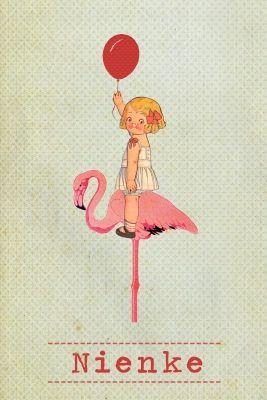 Geboortekaartje meisje - vintage - schattig meisje met ballon op een flamingo - Pimpelpluis - https://www.facebook.com/pages/Pimpelpluis/188675421305550?ref=hl (# flamingo - ballon - vintage paper doll - lief - dieren - schattig - meisje - roze - retro - origineel)