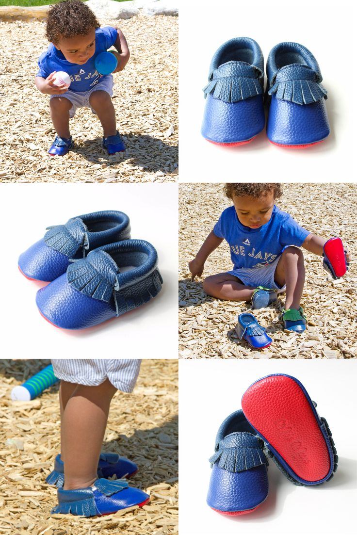 Tayo is an active and adorable little guy! He's getting ready for the ball game and changing into his Blue Jay moccs to match his outfit!