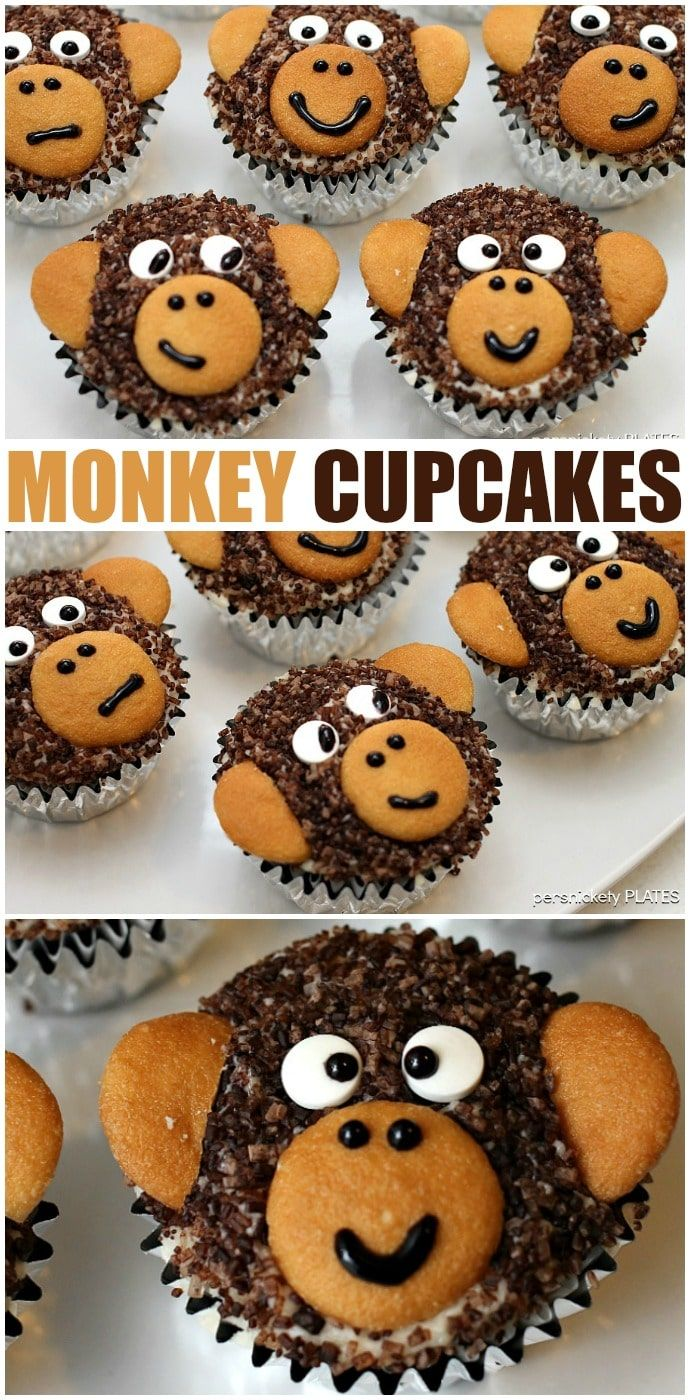 """Adorable Monkey Cupcakes! Homemade chocolate cupcakes with chocolate sugar """"fur"""" and vanilla wafer ears! Perfect for a monkey themed birthday party! 