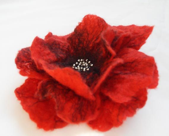 Poppy Flower Hair Clip Felted Hair Accessories Hair Fascinator Wool Hair Clips Bridesmaid Hair Flower gift under 25. £12.60, via Etsy.