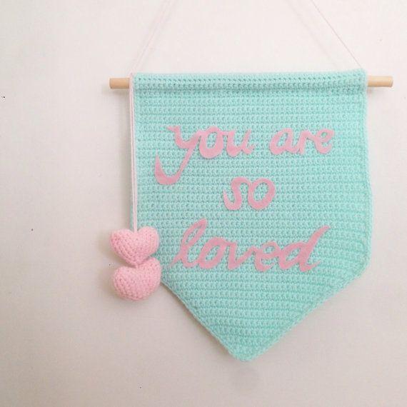 Children's Crochet Wall Banner Wall Hanging by LittleFoxCrochet