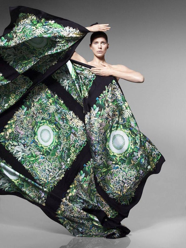 hermes scarves shoot2 Iselin Steiro Models Hermès Printed Scarves for Spring 14 Catalogue