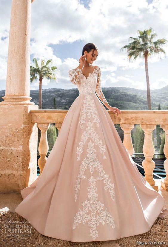 romantic princess pink a line wedding dress v back chapel train sweetheart neckline long-sleeved bridal gown from Handmade Dress