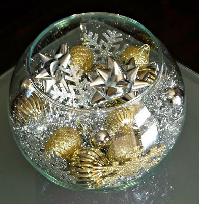 DIY: Silver & Gold Christmas Fish Bowl Centerpiece (On a Budget) - Crafty Morning