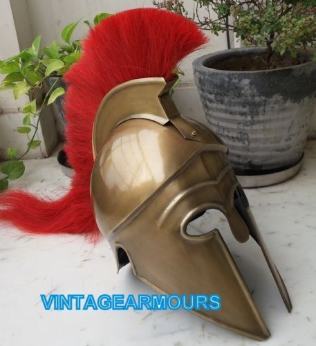 Greek-Corinthian-Helmet-w-Red-Plume-Brass-Antique-Finish-Antique-Reenactment
